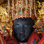 Bao-jhong Yi-min Temple, Kaohsiung -- Face of a Taoist god.