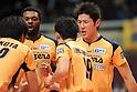 (R-L) Yusuke Ishijima, Ndaki Mboulet (Blazers), MARCH 5, 2011 - Volleyball : 2010/11 Men's V.Premier League match between F.C.Tokyo 0-3 Sakai Blazers at Tokyo Metropolitan Gymnasium in Tokyo, Japan. (Photo by AZUL/AFLO).