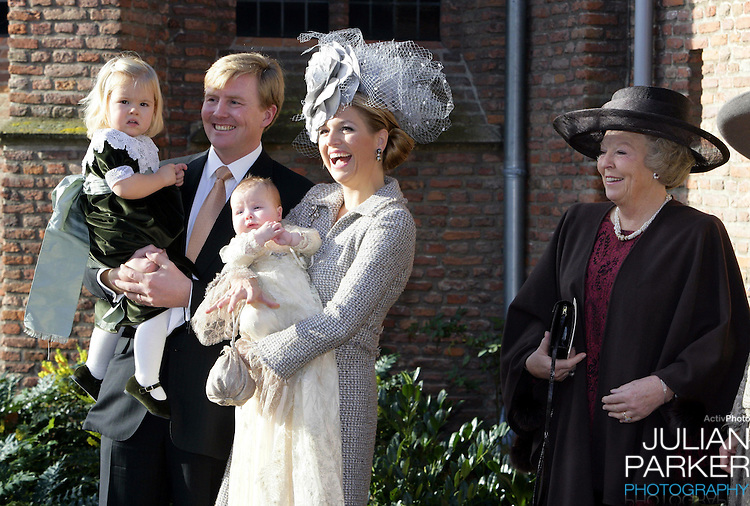 Queen Beatrix, Crown Prince Willem-Alexander, Crown Princess Maxima & Princess Catharina-Amalia attend the Christening of Princess Alexia of the Netherlands at the Dorpskerk in Wassenaar..
