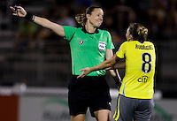 Amy Rodriguez (8) of the Philadelphia Independence discusses a call with referee Margaret Domka during the game at the Maryland SoccerPlex in Boyds, Maryland.  The Washington Freedom defeated the Philadelphia Independence, 2-0.