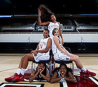 Freshman members of the Stanford Women's basketball team photo. Photo taken on Wednesday, October 2, 2013
