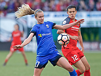 Portland, OR - Saturday May 06, 2017: Beverly Yanez, Christine Sinclair during a regular season National Women's Soccer League (NWSL) match between the Portland Thorns FC and the Seattle Reign FC at Providence Park.