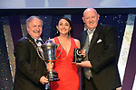 Nicole Lamb, Dunboyne Musical Society, Meath who won the Spirit of AIMS for her performance as Maureen in 'Rent'' receiving the trophy from on  left, Colm Moules, President, AIMS and Seamus Power, Vice-President at the Association of Irish Musical Societies annual awards in the INEC, KIllarney at the weekend.<br /> Photo: Don MacMonagle -macmonagle.com<br /> <br /> <br /> <br /> repro free photo from AIMS<br /> Further Information:<br /> Kate Furlong AIMS PRO kate.furlong84@gmail.com