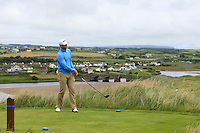 Peter O'Keeffe (Douglas) on the 9th tee during Matchplay Round 1 of the South of Ireland Amateur Open Championship at LaHinch Golf Club on Friday 22nd July 2016.<br /> Picture:  Golffile | Thos Caffrey<br /> <br /> All photos usage must carry mandatory copyright credit   (© Golffile | Thos Caffrey)