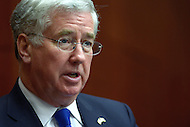 Washington, DC - March 11, 2015: UK Defense Minister Michael Fallon speaks at the Statesmen's Forum hosted by the Center for Strategic and International Studies in the District of Columbia, March 11, 2015.   (Photo by Don Baxter/Media Images International)