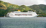 Cruise ship at anchor in Roadtown harbor in the British Virgin Island of Tortola