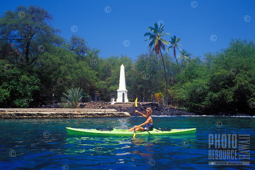 Woman kayaking near the Captain Cook monument at Kealakekua bay, Big Island As of 2013 a moratorium halting all kaying in the bay has been issued by the Dept. of Land and Natural Resources. This could be revoked at anytime.