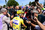 Media scrum around new race leader Julian Alaphilippe (FRA) Deceuninck-Quick Step before Stage 4 of the 2019 Tour de France running 213.5km from Reims to Nancy, France. 9th July 2019.<br /> Picture: ASO/Pauline Ballet | Cyclefile<br /> All photos usage must carry mandatory copyright credit (© Cyclefile | ASO/Pauline Ballet)