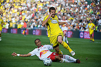 Alejandro Moreno is taken down by Diego Jimenez in the first half of the MLS Cup 2008, Columbus Crew 3-1 over the New York Red Bulls, Sunday, November 23, 2008.
