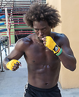 A boxer training at Rafael Trejo gym, La Habana Vieja
