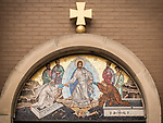 Mosaic of the ascension of Christ over the entrance to Holy Resurrection Serbian Orthodox Church, Chicago, Illinois