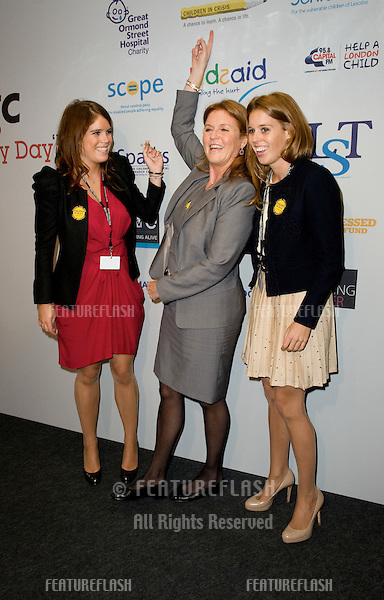 Sarah Ferguson, Princess Beatrice and Princess Eugenie take to the trading floor at BGC in Canary Wharf as part of the fundraising day set up after the 9/11 terrorist attacks. 12/09/2011 Picture by: Simon Burchell / Featureflash