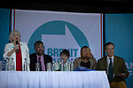 Former Conservative party government minister Ann Widdecombe speaking on stage with Henrik Overgaard-Nielsen, Claire Fox, Elizabeth Babade and Nigel Farage and at a Brexit Party event in Chester, Cheshire. The keynote speech was given by the Brexit Party leader Nigel Farage MEP. The event was attended by around 300 people and was one of the first since the formation of the Brexit Party by Nigel Farage in Spring 2019.