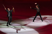 Olypmic and European champion figure skater Evgeny Plushenko (R) of Russia and Emmy-award winning violin player-composer musician Edvin Marton (L) of Hungary perform during the Kings on Ice skating show in Budapest, Hungary on April 29, 2018. ATTILA VOLGYI