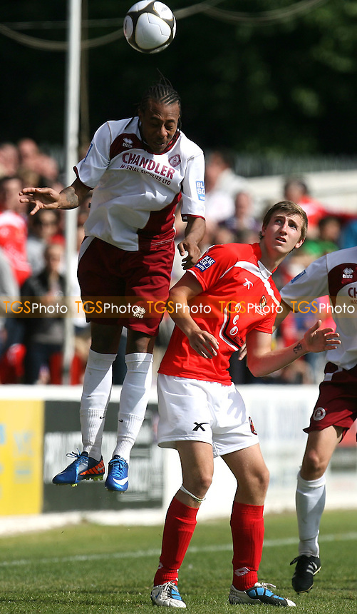 Ricky Modeste of Chelmsford City and Tom Phipp of Ebbsfleet United - Ebbsfleet United vs Chelmsford City - Blue Square Bet South Play off semi final at the Stonebridge Road Stadium - 08/05/11 - MANDATORY CREDIT: Dave Simpson/TGSPHOTO - Self billing applies where appropriate - 0845 094 6026 - contact@tgsphoto.co.uk - NO UNPAID USE.