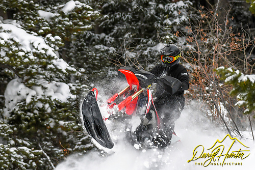 Snowbiking in the Snake River Range south of Victor Idaho