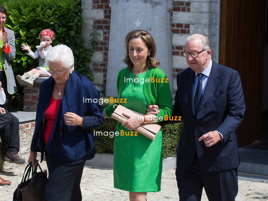 Queen Paola of Belgium, Princess Claire of Belgium and King Albert II of Belgium attend the first communion of twin princes Nicolas and Aymeric of Belgium, at the Sainte-Catherine church, in Bonlez, Belgium.<br /> 29 May 2014.