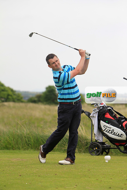 Damien McCusker (Moyola Park) on the 15th tee during Round 2 of the East of Ireland in the Co. Louth Golf Club at Baltray on Sunday 1st June 2014.<br /> Picture:  Thos Caffrey / www.golffile.ie