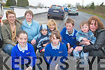 PLEASE SLOW DOWN: Parents and pupils of Raheen school appealing to motorists to slow down outside their school, front l-r: Nicole Courtney, Chloe O'Connor. Back l-r: Helen O'Riordan, Margaret Culloty, Jamie O'Connor, Sharon O'Connor, Mel O'Callaghan, Setanta O'Callaghan, Niamh O'Callaghan.   Copyright Kerry's Eye 2008