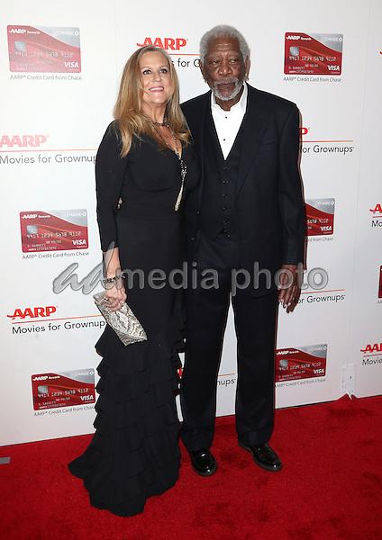 06 February 2017 - Beverly Hills, California - Lori McCreary, Morgan Freeman. AARP 16th Annual Movies For Grownups Awards held at the Beverly Wilshire Four Seasons Hotel. Photo Credit: F. Sadou/AdMedia