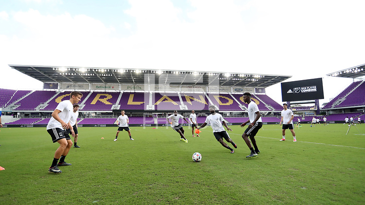 Orlando, Florida - Friday January 12, 2018: Team Nemeziz players practice. The 2018 adidas MLS Player Combine Skills Testing was held Orlando City Stadium.