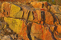 Colorful Precambrian Shiled rock across from Fungus Lake<br />