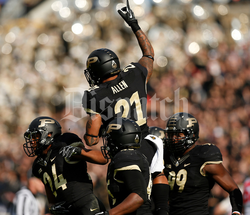 Purdue Boilermakers cornerback Ricardo Allen (21) celebrates a turnover during Saturday's NCAA Division I football game against Ohio State at Ross-Ade Stadium in West Lafayette, In. on November 2, 2013. (Barbara J. Perenic/The Columbus Dispatch)