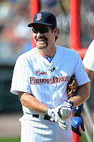 Hall of Fame third baseman Wade Boggs #12 during batting practice before the MLB Pepsi Max Field of Dreams game on May 18, 2013 at Frontier Field in Rochester, New York.  (Mike Janes/Four Seam Images)