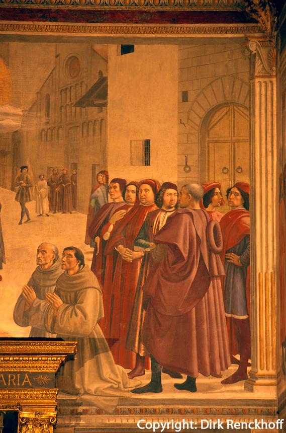 in Santa Trinita, Fresken von Ghirlandaio, Florenz, Toskana, Italien, Unesco-Weltkulturerbe