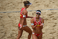 VADUZ, LIECHTENSTEIN, 10.08.2019- FIVB BEACH VOLLEYBALL WORLD TOUR: Suzuka Hashimoto (E) e Sayaka Mizoe (D) do Japão durante a partida das quartas de final a contar para o torneio FIVB Beach Volleyball World Tour Star1 na Beacharena, em Vaduz, Liechtenstein, nesse sabado 10. (Foto: Bruno de Carvalho / Brazil Photo Press)