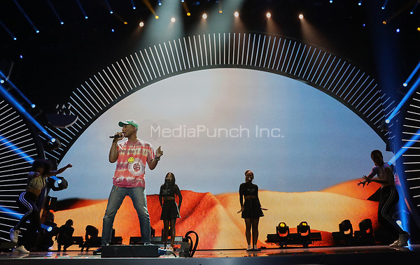 Pharrell Williams performs at the first Global Citizen Festival concert in Hamburg, Germany, 6 July 2017. Photo: Georg Wendt/dpa /MediaPunch ***FOR USA ONLY***