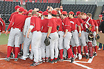 The Washington State University baseball team gathers at home plate following a practice at Bailey-Brayton Field on the WSU campus in Pullman, Washington, on September 10, 2010.