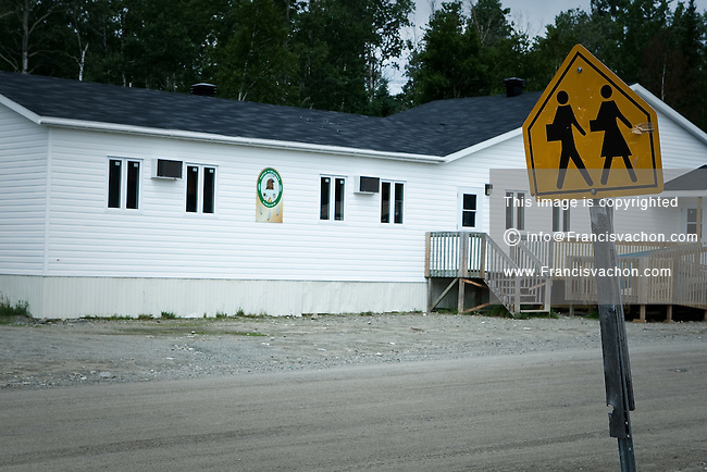 The primary school of the algonquin Anicinape community of Kitcisakik is pictured in Quebec, Canada, July 18, 2009. The aboriginals living in Kitcisakik, a small algonquin Anicinape community, must send their child to the distant city of Val D'Or at age 9 where they are boarded during weekdays.