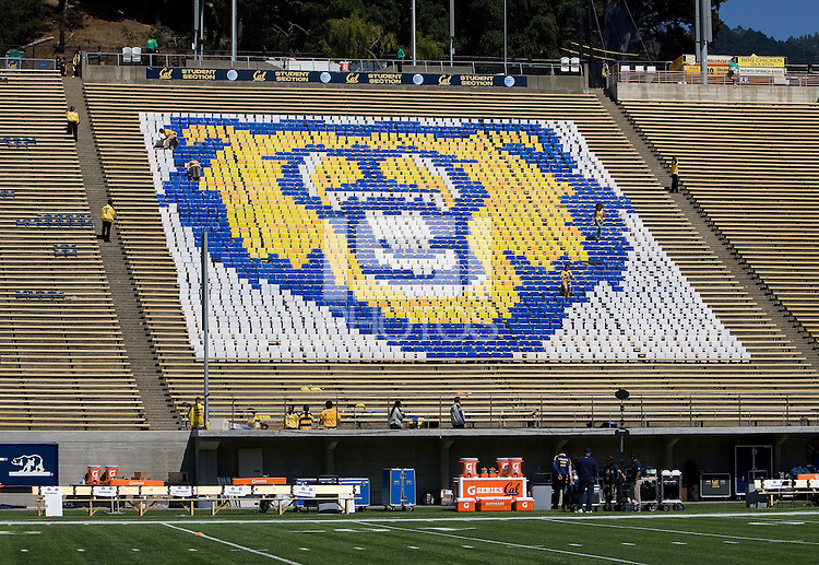 California Bear's logo is pictured on the stands before the game between California and Ohio State at Memorial Stadium in Berkeley, California on September 14th, 2013.  Ohio State defeated California, 52-34.