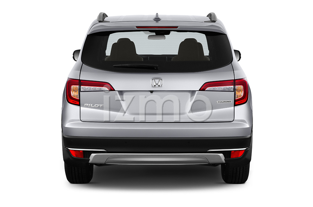 Straight rear view of a 2020 Honda Pilot Touring 5 Door SUV stock images