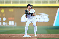 Danny Mendick (17) of the Charlotte Knights makes a putout at second base during the game against the Toledo Mud Hens at BB&T BallPark on April 23, 2019 in Charlotte, North Carolina. The Knights defeated the Mud Hens 11-9 in 10 innings. (Brian Westerholt/Four Seam Images)