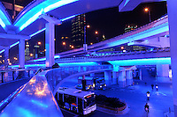 A beautifully-lit-up overpass, as an example of the lighting project for Shanghai 2010 Expo, Shanghai, China. .22 Jan 2010