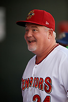Harrisburg Senators manager Matthew LeCroy (24) before a game against the Erie SeaWolves on August 29, 2018 at FNB Field in Harrisburg, Pennsylvania.  Harrisburg defeated Erie 5-4.  (Mike Janes/Four Seam Images)