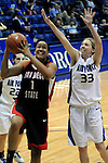 February 3, 2010:  San Diego State forward, Jessika Bradley (1), drives for the basket during Mountain West Conference action between San Diego State and Air Force at Clune Arena, U.S. Air Force Academy, Colorado Springs, Colorado.  San Diego State defeats Air Force 68-48.