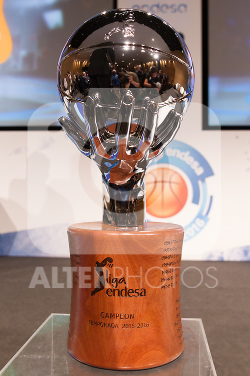 The trophy during presentation of the Liga Endesa playoff. May 23,2016. (ALTERPHOTOS/Rodrigo Jimenez)