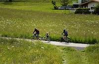 Family cycling through countryside, Imst district, Tyrol/Tirol, Austria, Alps.
