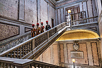 Vatican City, June 26, 2018. Vatican Swiss Guards march down the stairs at the end of a visit by French President Emmanuel Macron with Pope Francis, at the Vatican.
