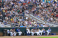 It's a packed house as the Ogden Raptors faced the Great Falls Voyagers in Pioneer League play at Lindquist Field on August 16, 2013 in Ogden Utah. Military Appreciation Night saw the Raptors take the field in camouflage uniforms. (Stephen Smith/Four Seam Images)