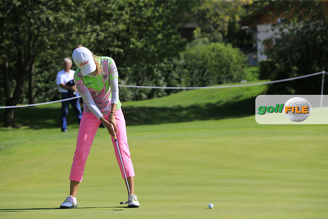 Klara Spilkova (CZE) putts on the 1st green during Friday's Round 2 of the LPGA 2015 Evian Championship, held at the Evian Resort Golf Club, Evian les Bains, France. 11th September 2015.<br /> Picture Eoin Clarke | Golffile