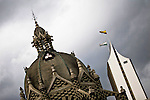 "Dome of the National Palace and the needle Coltejer building, architectural heritage and representative of l Medellin, amid the sculptures of the painter and sculptor Fernando Botero, who supervises the assembly of historical work ""Via Crucis, Passion of the Crist""  at the Museum of Antioquia in Medellin, Colombia. 01/04/2012. Photo by Fredy Amariles / VIEWpress."