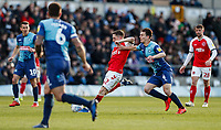 Fleetwood Town's Ashley Hunter shoots at goal under pressure from Wycombe Wanderers' Dominic Gape <br /> <br /> Photographer Andrew Kearns/CameraSport<br /> <br /> The EFL Sky Bet League One - Wycombe Wanderers v Fleetwood Town - Saturday 4th May 2019 - Adams Park - Wycombe<br /> <br /> World Copyright © 2019 CameraSport. All rights reserved. 43 Linden Ave. Countesthorpe. Leicester. England. LE8 5PG - Tel: +44 (0) 116 277 4147 - admin@camerasport.com - www.camerasport.com
