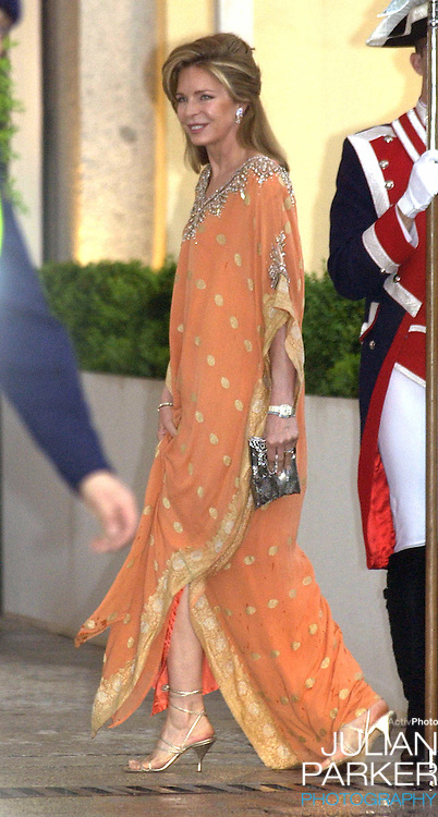 Queen Noor of Jordan attends a Gala Dinner at the El Pardo Royal Palace in Madrid..Picture: UK Press