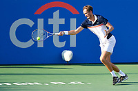 Washington, DC - August 4, 2019: Daniil Medvedev (RUS) stretches out to return the ball from Nick Kyrgios (AUS) NOT PICTURED during the Men's finals of the Citi Open at the Rock Creek Tennis Center, in Washington D.C. (Photo by Philip Peters/Media Images International)