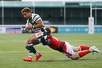 Curtis Wilson of Ealing Trailfinders is tackled by Sebastian Jewell of London Welsh during the Greene King IPA Championship match between Ealing Trailfinders and London Welsh RFC at Castle Bar , West Ealing , England  on 26 November 2016. Photo by David Horn / PRiME Media Images