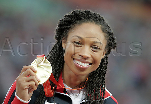 28.08.2015. Birds Nest Stadium, Beijing, China.  Allyson Felix of the USA poses with her gold medal during the medal ceremony of the women's 400m final during the Beijing 2015 IAAF World Championships at the National Stadium, also known as Bird's Nest, in Beijing, China, 28 August 2015.